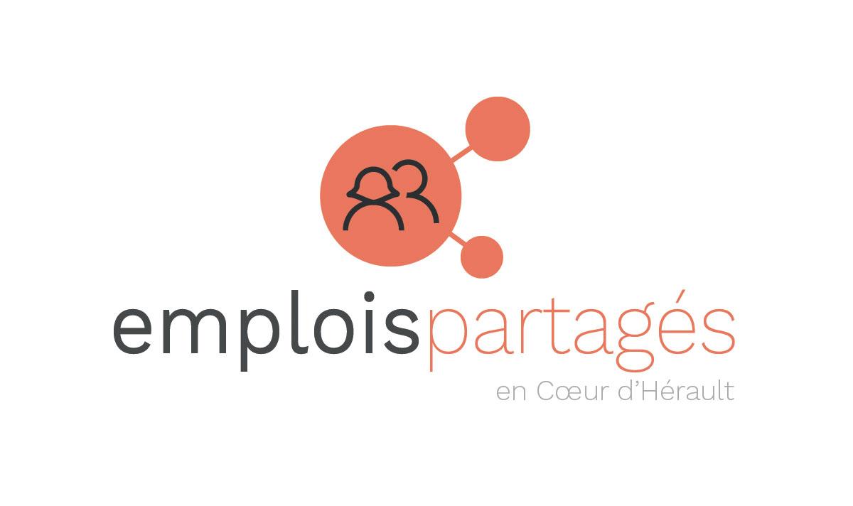 Emplois partagés en Coeur d'Hérault, un logo créé par l'agence-i communication à Gignac
