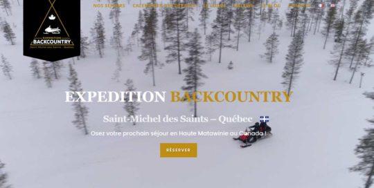 Expédition Backcountry Québec, un site internet de réservation de séjours, créé par l'agence-i communication à Gignac Hérault