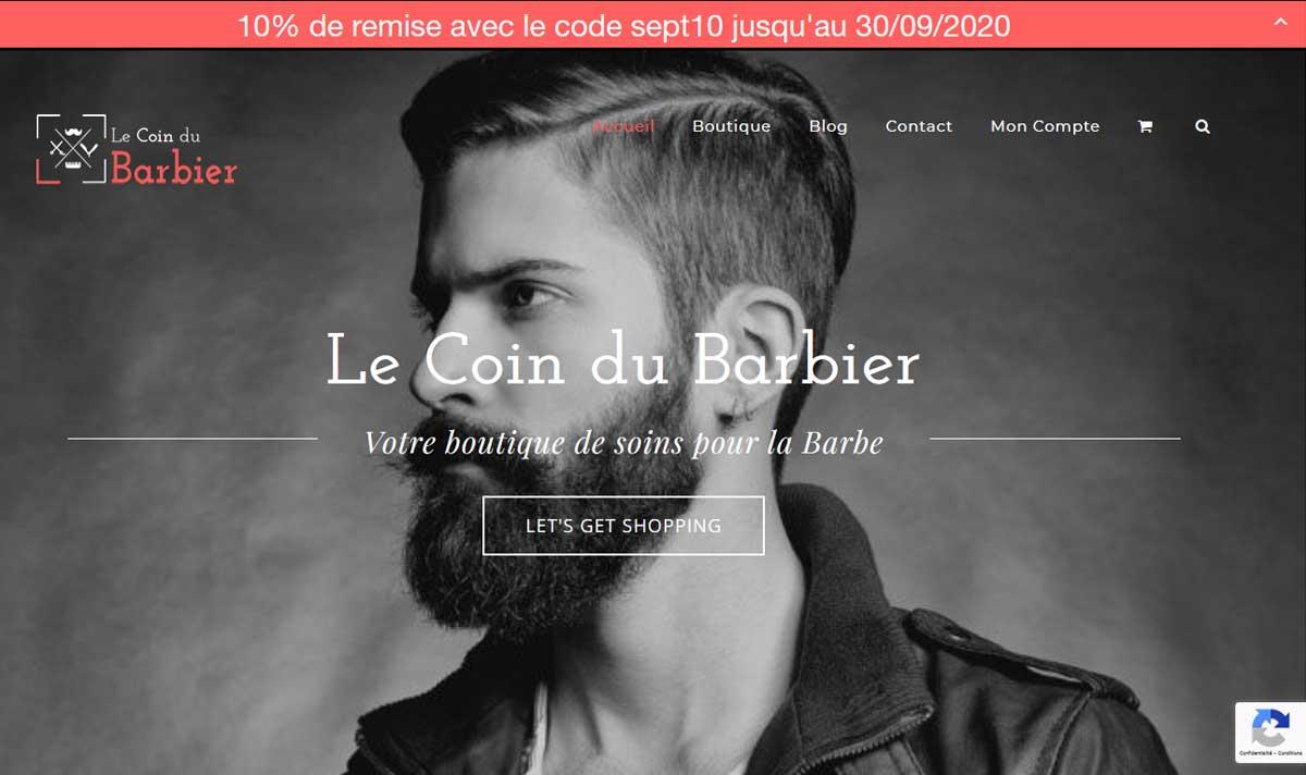 Coin du Barbier, une e-boutique créée par l'agence-i communication à Gignac