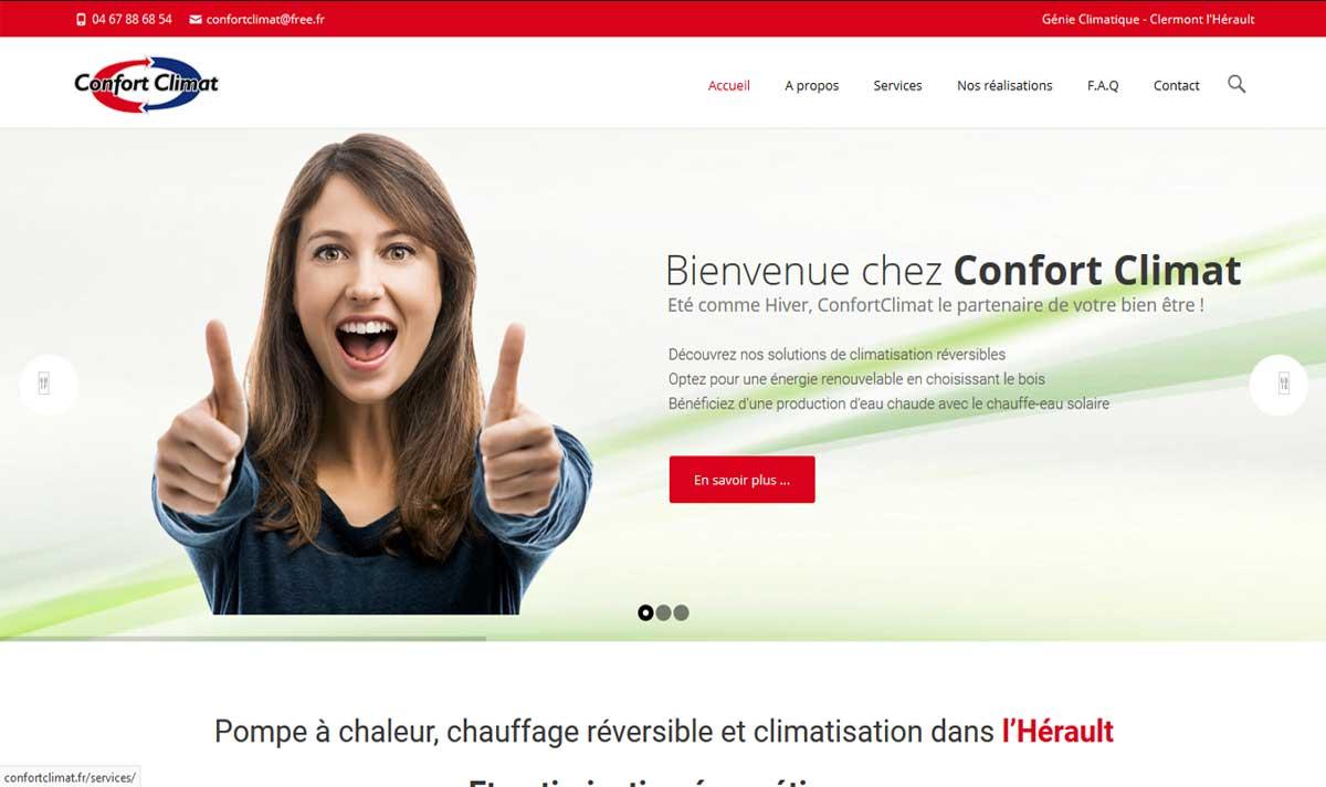 ConfortClimat, un site web créé par l'agence-i communication à Gignac