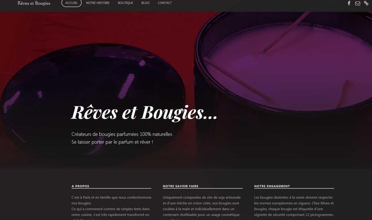Rêves et Bougies, un site e-commerce réalisé par l'agence-i communication à Gignac