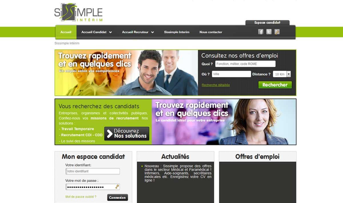 Sissimple interim, un site internet réalisé par l'agence-i à gignac Hérault